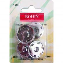 Bottoni a pressione - Bohin - 4 bottoni a pressione per cucire colore argento - 25 mm