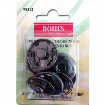 Bottoni a pressione - Bohin - 4 bottoni a pressione per cucire neri - 25 mm