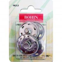 Bottoni a pressione - Bohin - 2 bottoni pressione a cucire argentato - 30 mm