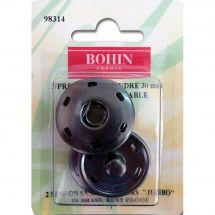 Bottoni a pressione - Bohin - 2 bottoni pressione a cucire nero - 30 mm