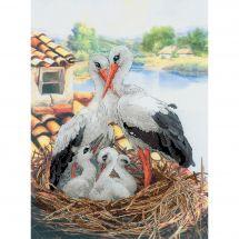 Kit Punto Croce - Riolis - Famiglia di cicogne