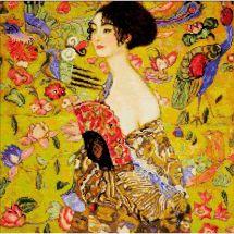 Kit punto croce con perle - Riolis - Donna con ventilatore dopo Klimt
