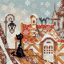 Kit ricamo diamante - Riolis - Gatto sulla città in inverno