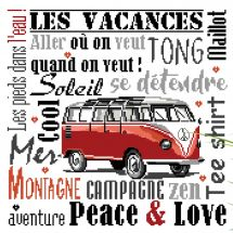 Foglio di punto croce - Isabelle Haccourt Vautier - Peace and Love