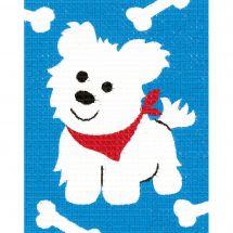 Kit di tela per bambini - Vervaco - Piccolo cane bianco