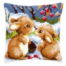 Kit cuscino fori grossi - Vervaco - Cuscino da ricamare conigli nella neve