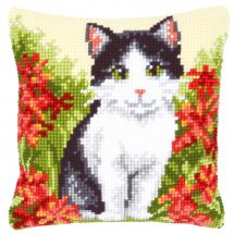 Kit cuscino fori grossi - Vervaco - Cuscino da ricamare gatto in un campo di fiori
