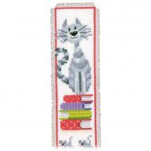 Kit segnalibro da ricamo - Vervaco - Gatto sul libri