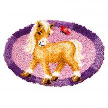 Kit tappeto a punto smirne - Vervaco - Pony con farfalla
