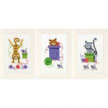 Kit bigliettini da ricamare - Vervaco - 3 carte gatto giocoso