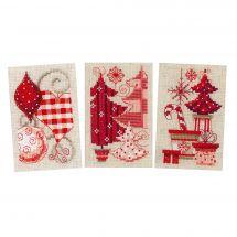 Kit bigliettini da ricamare - Vervaco - 3 Biglietto di motivi natalizi