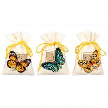 Kit sacchetto profumato da ricamo - Vervaco - Cuscino da ricamare farfalle