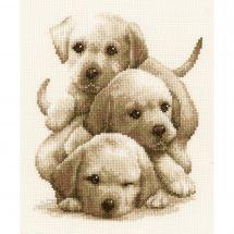 Kit Punto Croce - Vervaco - Cuccioli labrador