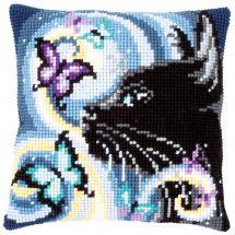Kit cuscino fori grossi - Vervaco - Gatto con farfalle