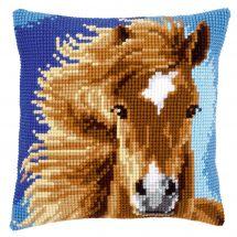 Kit cuscino fori grossi - Vervaco - Cuscino da ricamare cavallo marrone