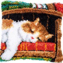 kit cuscini punto smirne - Vervaco - Cuscino da ricamare gatto che dorme
