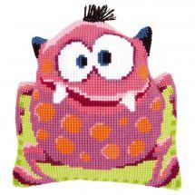 Kit cuscino fori grossi - Vervaco - Cuscino da ricamare piccolo mostro rosa I