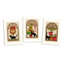 Kit bigliettini da ricamare - Vervaco - 3 biglietti Ambiente natalizio