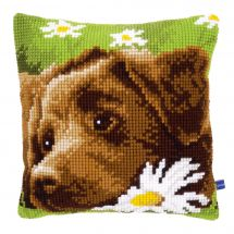Kit cuscino fori grossi - Vervaco - Labrador bruno