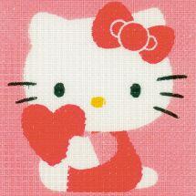 Kit di tela per bambini - Vervaco - Hello kitty con un cuore