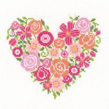 Kit Punto Croce - Vervaco - Cuore floreale