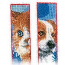 Kit segnalibro da ricamo - Vervaco - Cane e gatto