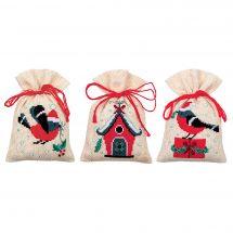 Kit sacchetto profumato da ricamo - Vervaco - Uccelli e casa di Natale