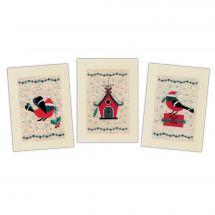 Kit bigliettini da ricamare - Vervaco - 3 carte Uccelli e casa di Natale