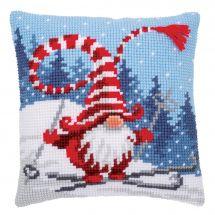 Kit cuscino fori grossi - Vervaco - Gnomo di Natale sugli sci