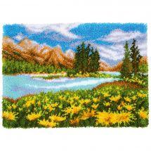 Kit tappeto a punto smirne - Vervaco - Paesaggio montano e lacustre