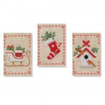 Kit bigliettini da ricamare - Vervaco - 3 Motivi di Natale