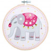 Kit di ricamo a tamburo per bambini - Vervaco - Elefante