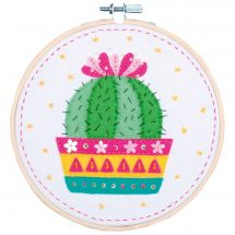 Kit di ricamo a tamburo per bambini - Vervaco - Cactus