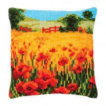 Kit cuscino fori grossi - Vervaco - Paesaggio di papaveri