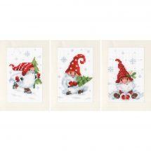 Kit bigliettini da ricamare - Vervaco - Gnomi di Natale nella neve