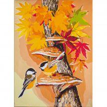 Kit di pittura per numero - Vervaco - Uccelli d'autunno