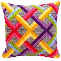 Kit cuscino punto lanciato - Vervaco - Cuscino da ricamare gioco di diagonali