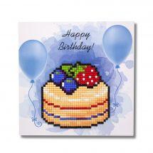 Carta con ricamo a diamante - Wizardi - Happy birthday - Torta