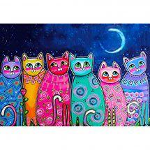 Kit ricamo diamante - Wizardi - gatti colorati