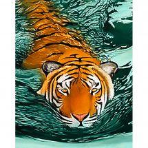 Kit ricamo diamante - Wizardi - Tigre in acqua