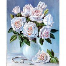 Kit ricamo diamante - Wizardi - Grappolo di rose bianche
