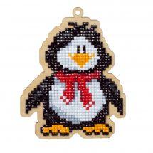 Supporto in legno Ricamo a diamante - Wizardi - Pinguino
