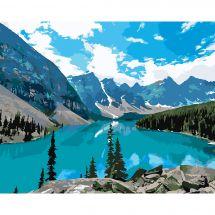 Kit di pittura per numero - Wizardi - lago di montagna