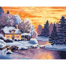 Kit di pittura per numero - Wizardi - Paesaggio d'inverno
