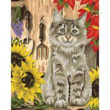 Kit di pittura per numero - Wizardi - Gattino e girasoli