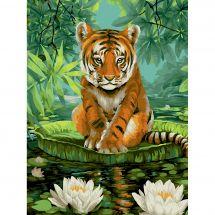 Kit di pittura per numero - Wizardi - Fiori di tigre e di loto